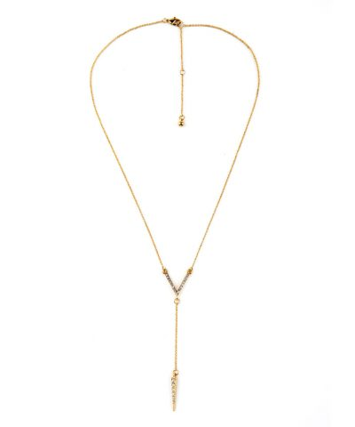 Y geometry-spike-bar-pendant-long-necklace