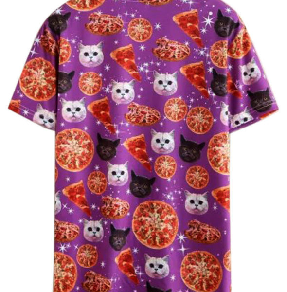 PURPLE PIZZA CATS -3D-Unisex-Galaxy-Cat-And-Pizza-Print-Short-Sleeve-T-shirt-MSTS0325B889E-Free