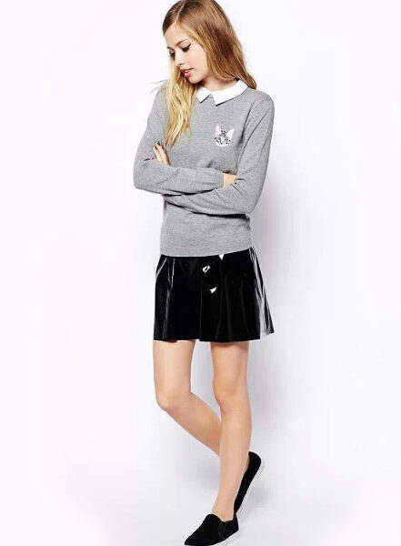 New-Autumn-2014-Turn-down-Collar-Embroidery-Cat-Pullovers-And-Sweaters-Womens-Fall-Slim-Fit-Casual