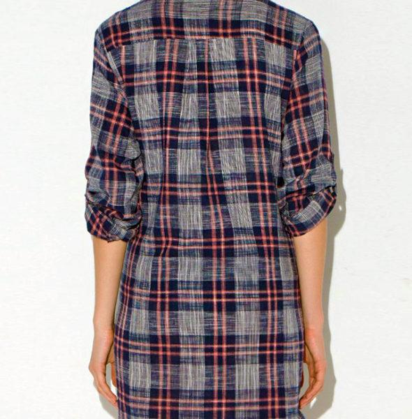 WRAPPED PLAID SHIRT DRESS