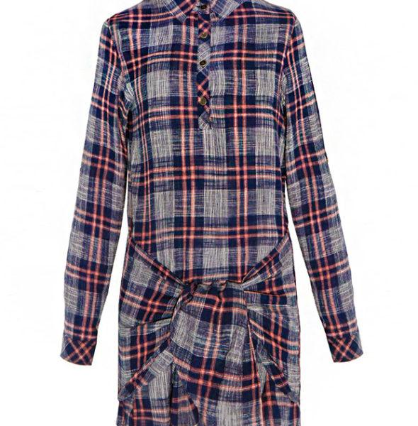 WRAPPED PLAID SHIRT DRESS Women-Dress-2015-Spring-Autumn-Retro-British-Style-Long-Sleeve-Funny-Dress-Women-Plaid-Shirt-Dresses-3