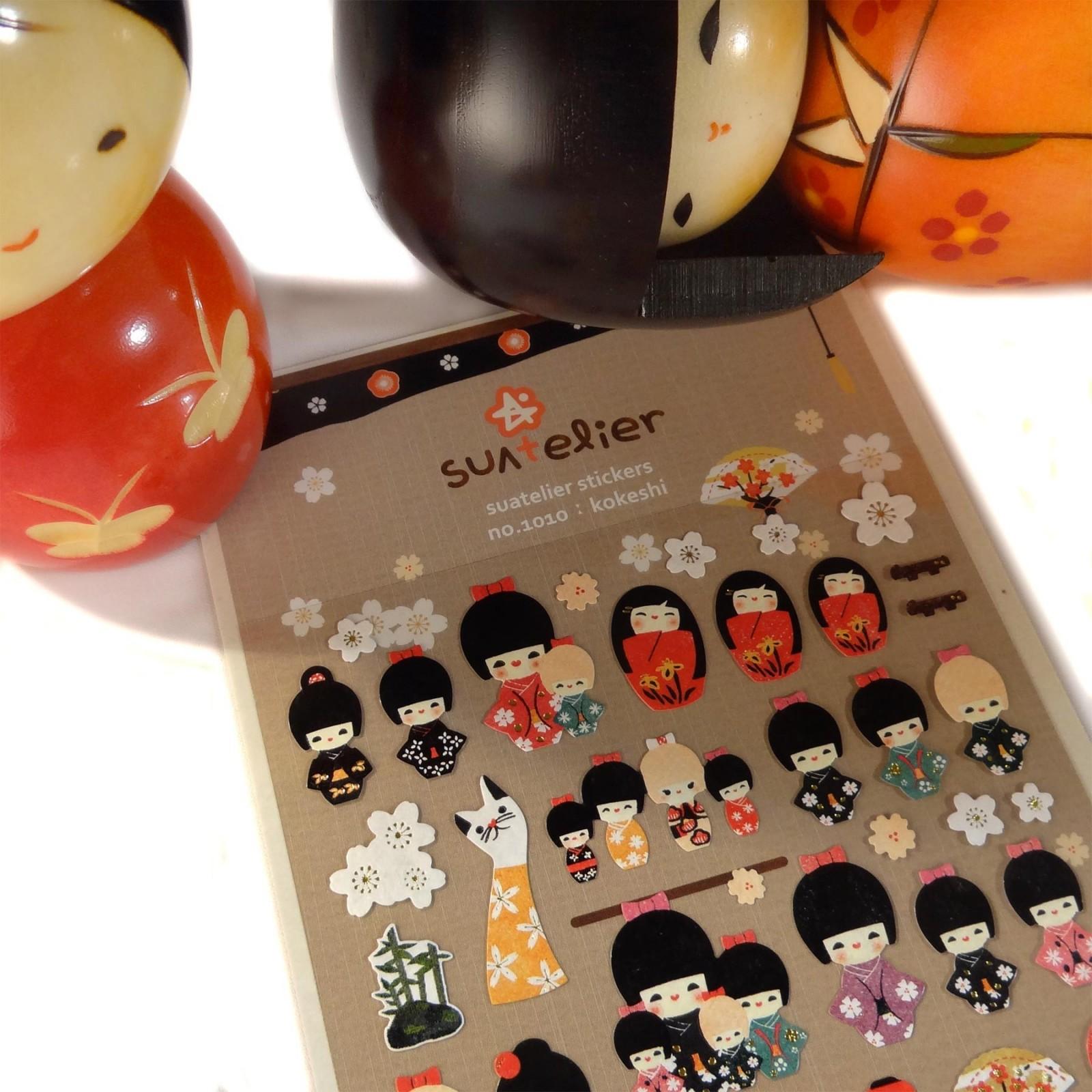 Kokeshi dolls sticker sheet judelovesyou for Stickers kokeshi