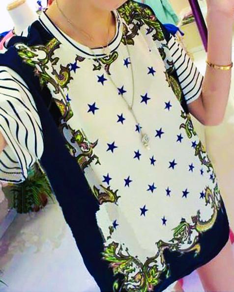 star-floral-print-blouse-chiffon-short-sleeve-shirt-casual-elegant-vantage-tops-brand