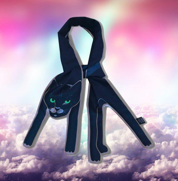 2 Black cat scarf in the clouds