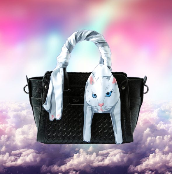 3 White cat scarf in clouds
