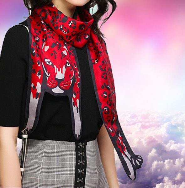 4 Leopard scarf on girl in clouds