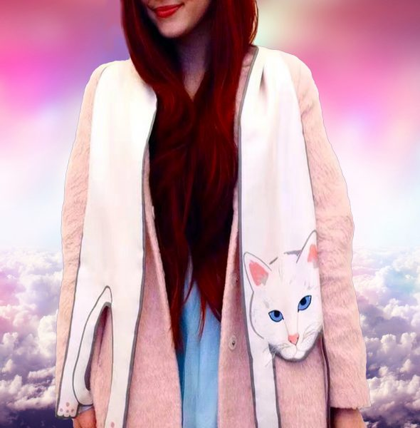 4 White cat scarf in clouds
